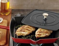 Квадратные чугунные сковородки-гриль с крышкой и прессом