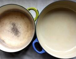 Как чистить эмалированные кастрюли от темного налета внутри