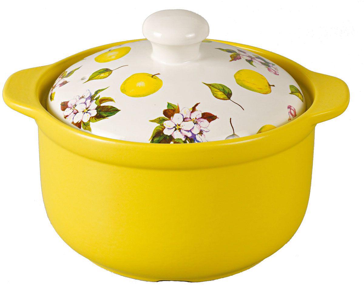 Фото желтой керамической кастрюли