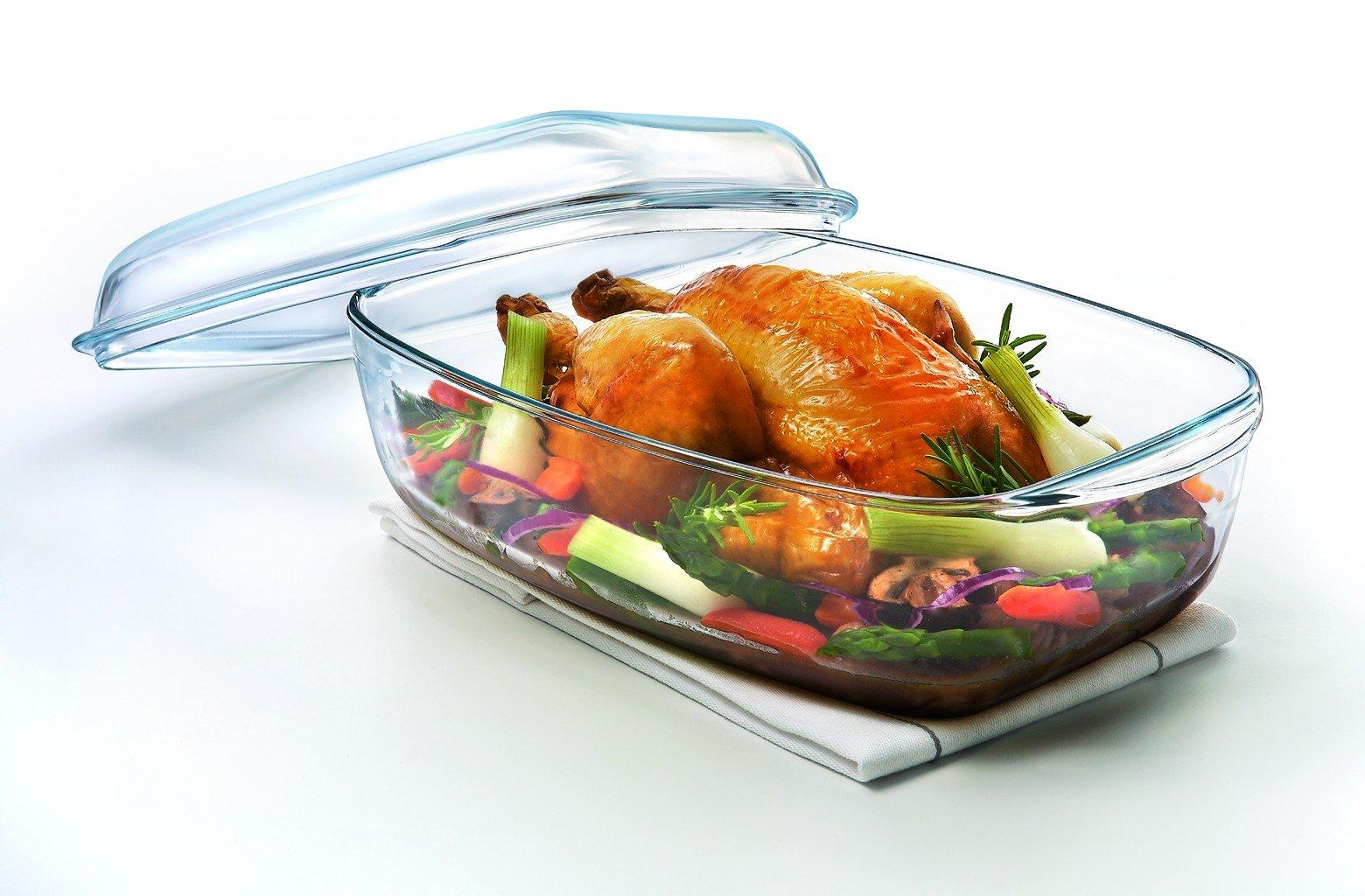 Стеклянная посуда для духовки с курицей
