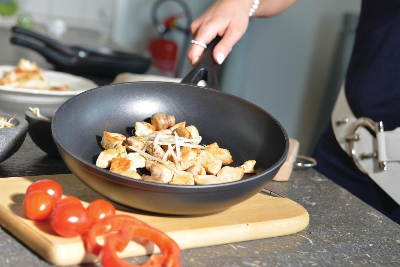 Тефлоновая сковорода с пищей