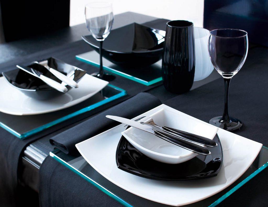 Посуда Люминарк черно-белая