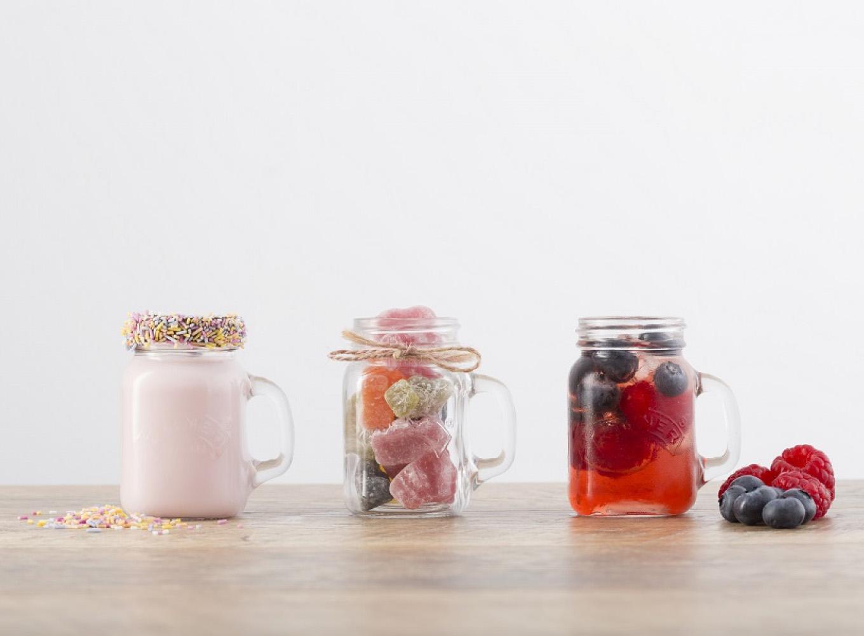 Кружки-банки с едой и напитками