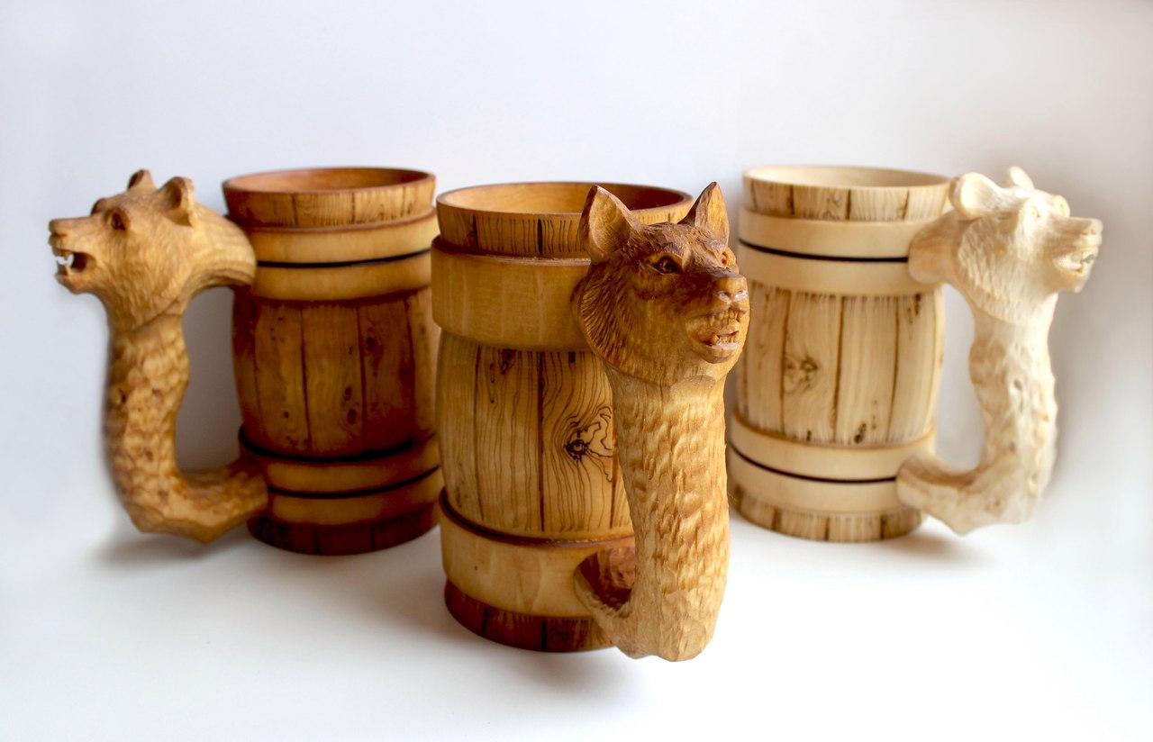 Кружки деревянные резные