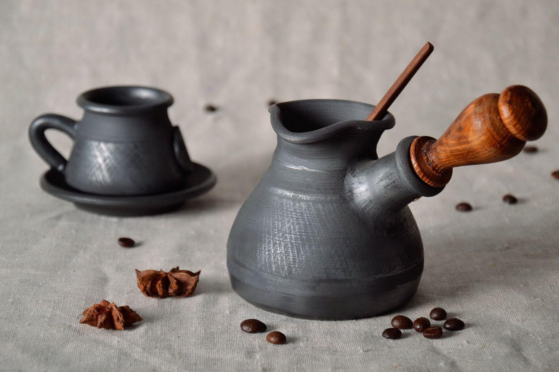 Турка керамическая с кофе