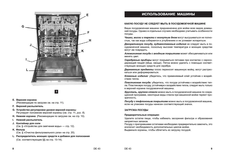 Инструкция для посудомоечной машины