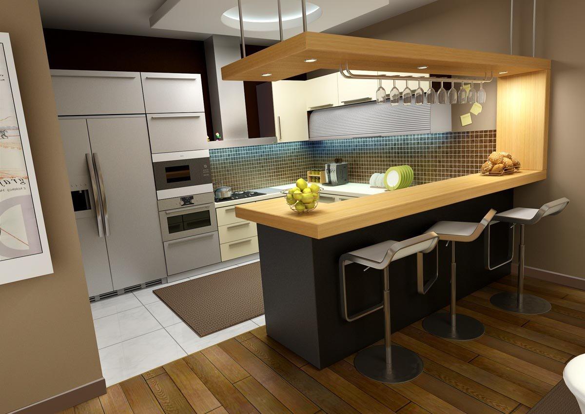 Кухня и стойка с бокалами