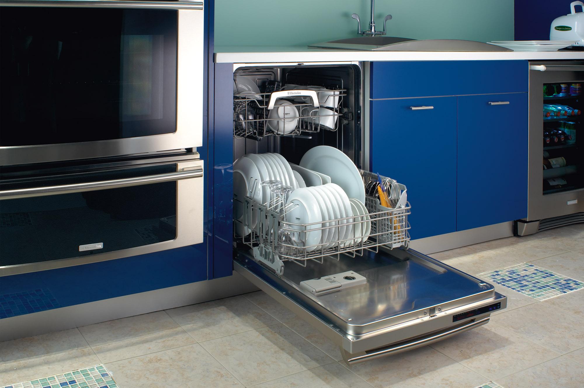 Посудомоечная машина с посудой