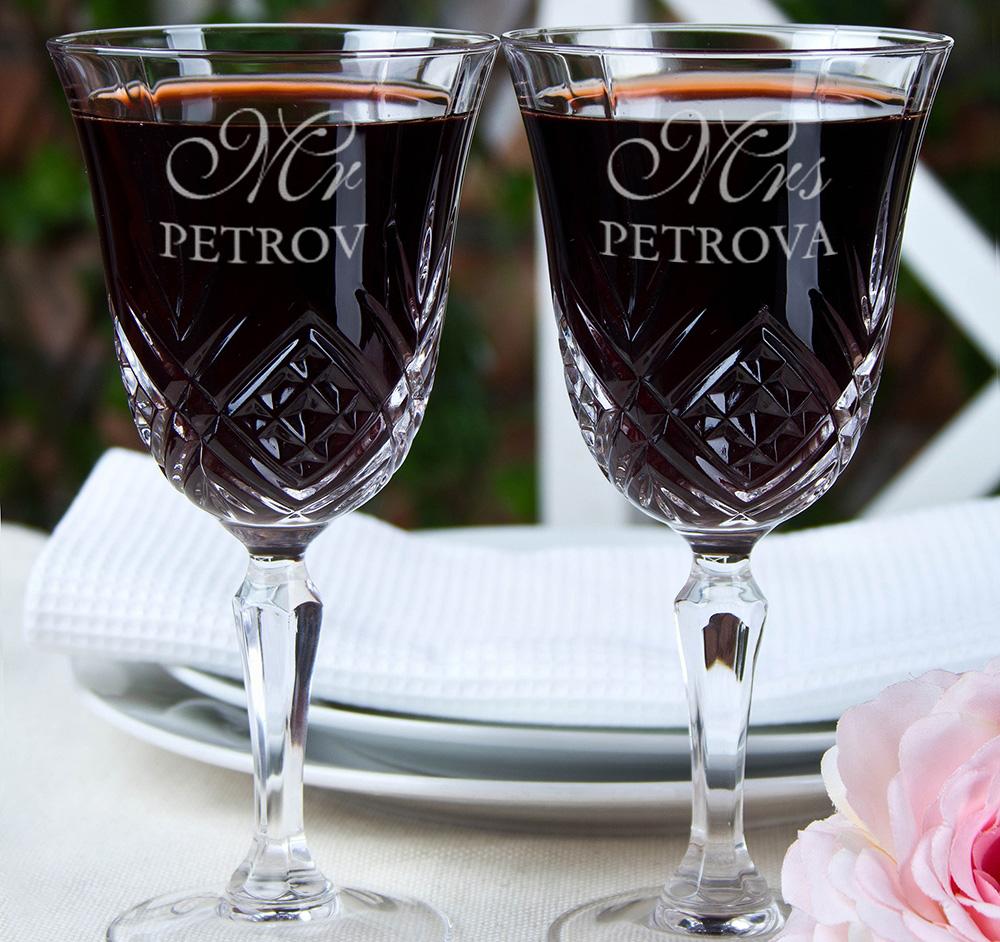 Фото именных бокалов для вина