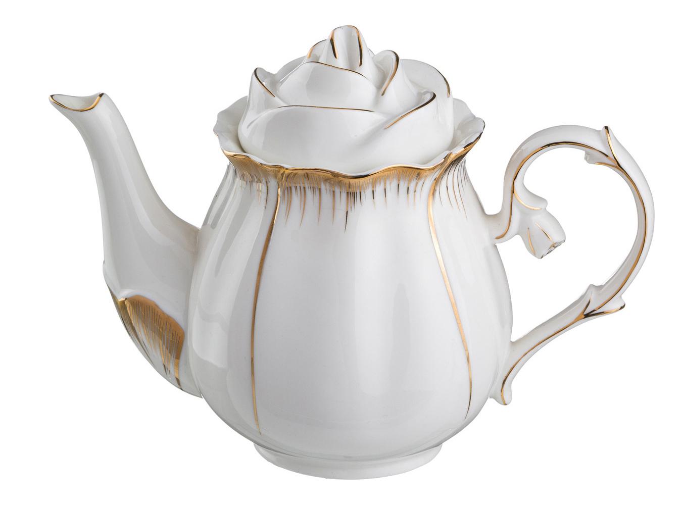 Фарфоровый чайник с крышкой