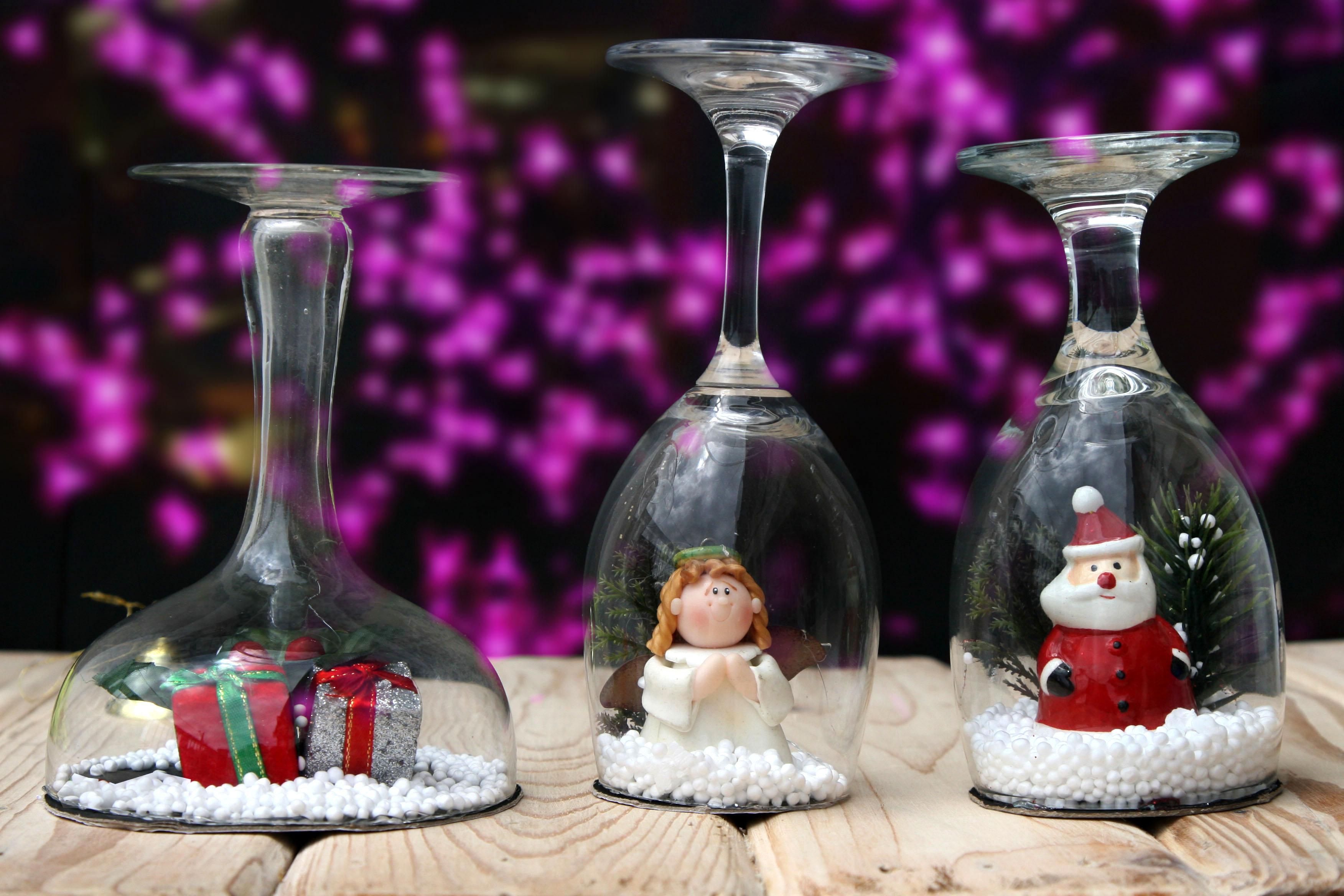 Декор новогодних бокалов внутри