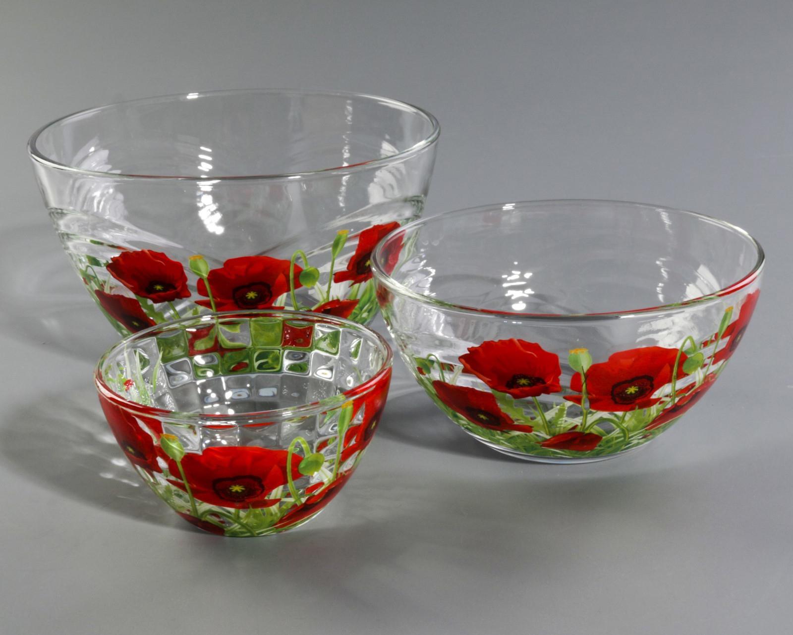 Стеклянные салатники с рисунком