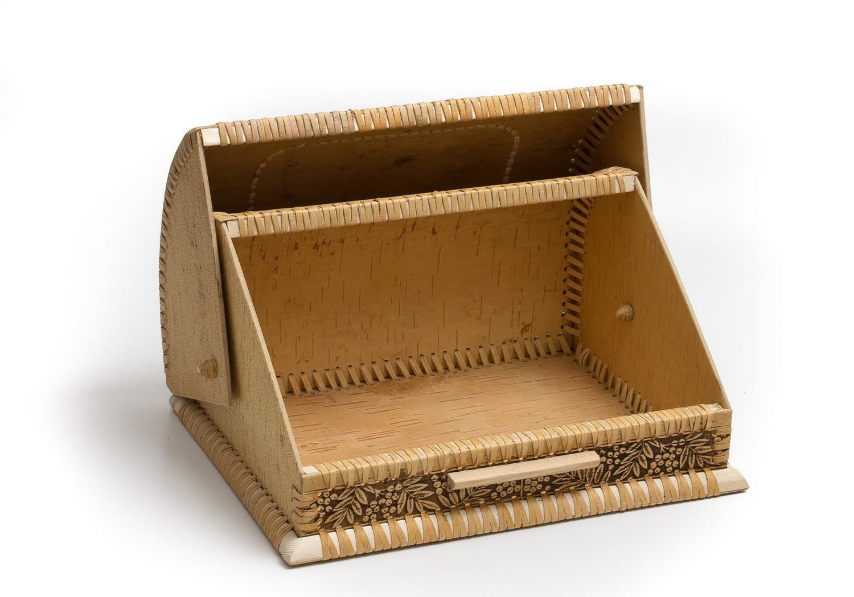 Открытая хлебница из бересты