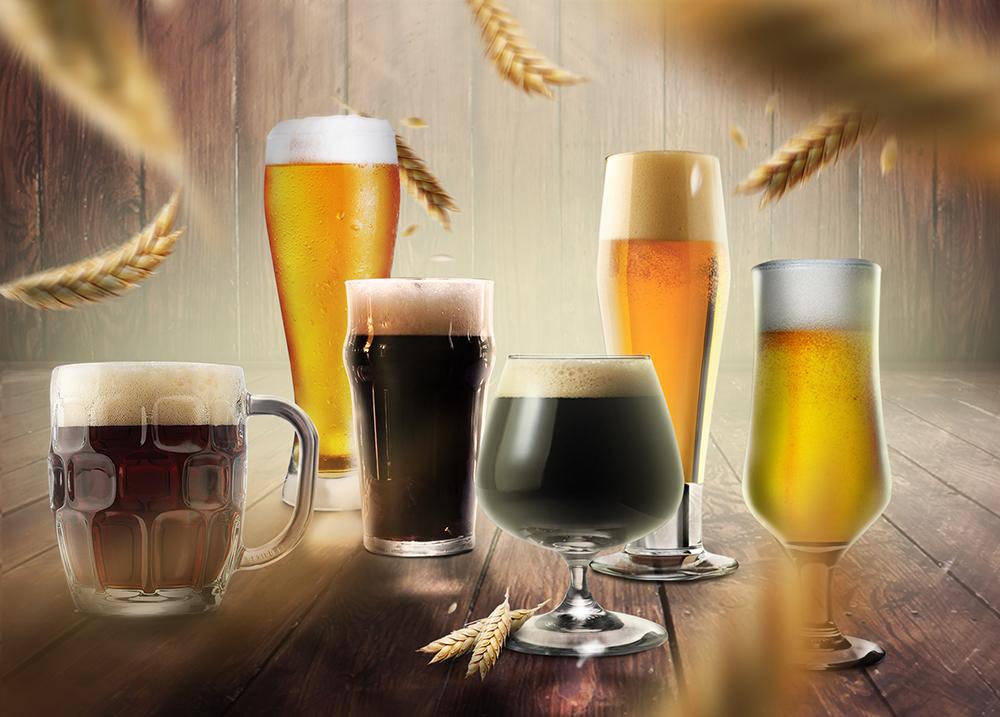 Крафтовое пиво в бокалах